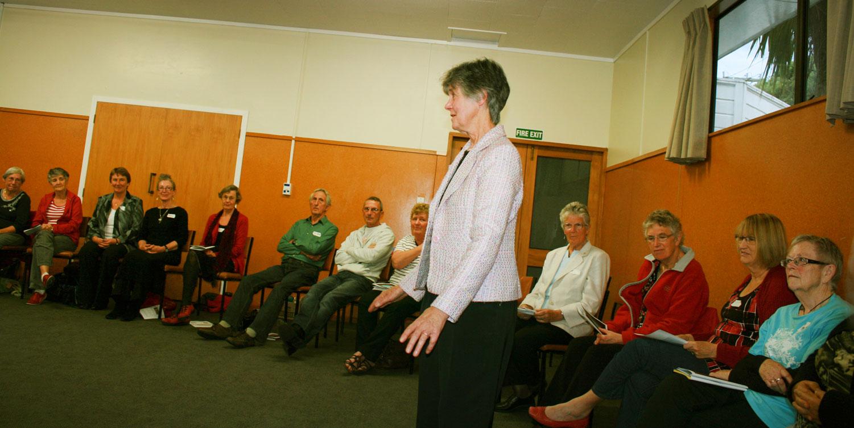 Sr MAry Boyd gives a workshop in Plimmerton.