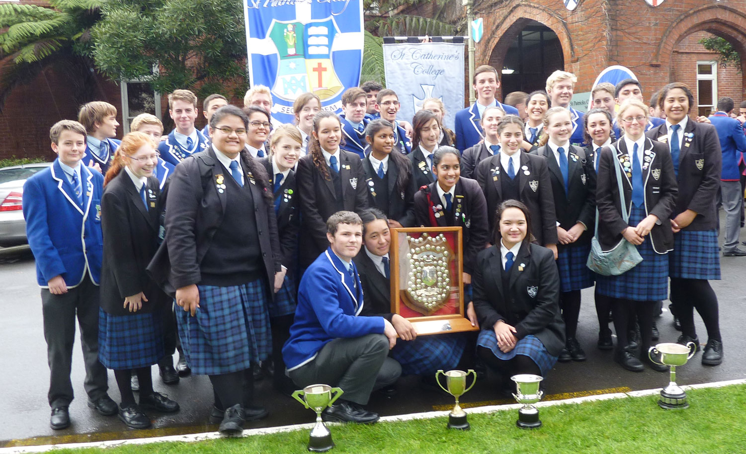 Students from St Patrick's and St Catherine's colleges Kilbirnie jubilant in winning the O'Shea Shield in a hard-fought competition with all colleges in Wellington and Palmerston North dioceses.