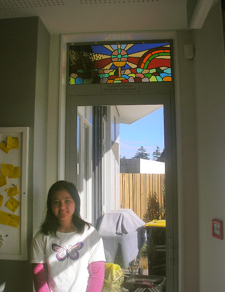 Gabriella Sinsua, with her winning stained glass design at St Brigid's,Feilding.