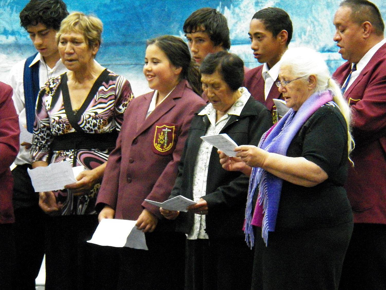 Tuhono Club Porirua. From left: Te Po Hohua Johnstone, Pani Malcolm, Ebony Kingi, Duane Taurerewa, Sr Makareta Gilbert, Pene Tuiketei, Rangi Hau, and Turei Thompson.