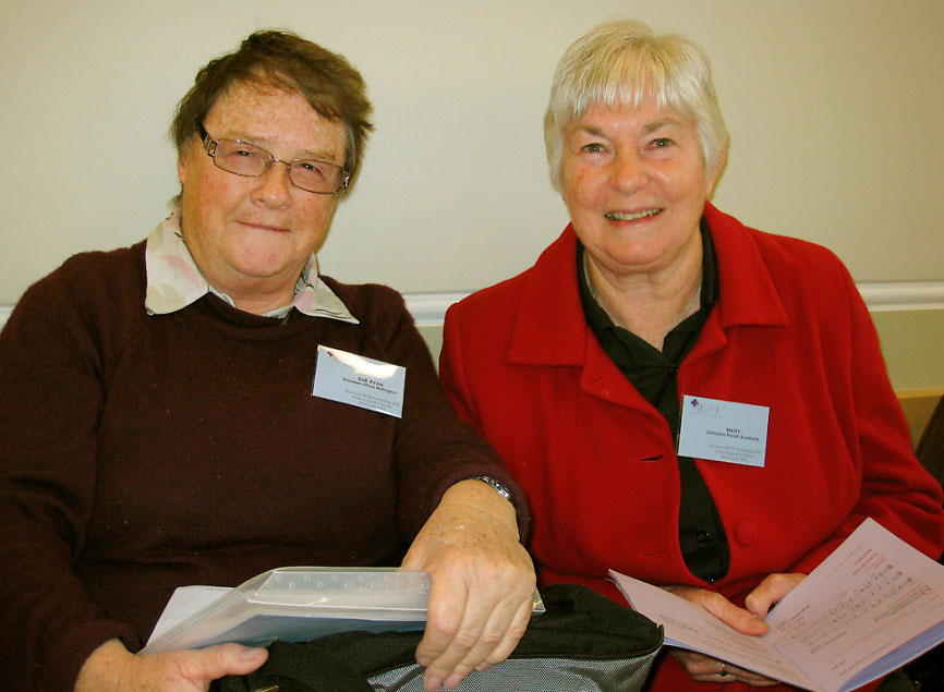 Sue Ryan with Mary Neven rsm from Auckland during a pastoral workshop in 2012.