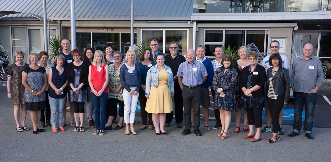Primary school principals, Archdiocese of Wellington Back, l to r: Mary Gray, St Joseph's, Kaikoura; Tim Nelson, St Mary's, Carterton; Donna-Marie McDonald, St Theresa's, Plimmerton; Elizabeth Heatley, Sacred Heart, Petone; Jo Buckley, St Bernadette's, Naenae; Sue Jury, St Claudine Thevenet, Wainuiomata; Doreen O'Sullivan, St Anne's, Newtown; Professor Chris Branson, educational leadership theorist, Waikato University; Martin Elms, St Patrick's, Paraparaumu; Steve Wheeler, St Patrick's Masterton; Jane Reddish, St Pius X, Titahi Bay; Bill Turley; Sacred Heart Cathedral, Thorndon; Dave Lamont, St Benedict's, Khandallah. Front, l to r: Celeste Hastings, Holy Cross, Miramar; Mary-Angela Tombs, St Teresa's, Karori; Joan Woods; St Francis Xavier, Tawa; Jennifer Ioannou, St Anthony's , Seatoun; Kaye Tester, St Brigid's, Johnsonville; Libby Hainsworth, St Brendan's, Heretaunga; Thérèse Young, San Antonio School, Eastbourne; Mike Burton; St Joseph's, Nelson; Bernadette Murfitt, St Francis Xavier, Tawa; Jennifer Muth, St Teresa's, Featherston; Karoline Surynt-Tapiki, Our Lady of the Rosary, Waiwhetu.