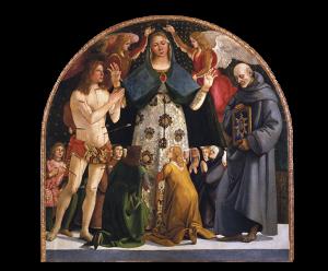 Madonna of Mercy and Saints Sebastian and Bernardino da Siena, Luca Signorelli.