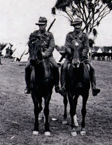 Richard and Michael Murphy of Meremere, Wellington Mounted Rifles at Trentham Military Training Camp.