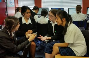 St Catherine's College students share stories and concerns about the environment. From left: year 12 students, Lara Najim, Aurshenna David, Jessica Hanlon, Erika Sison.