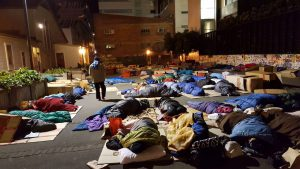 Participants sleeping out overnight at the 14-hours homeless event for World Homeless Day on 9 October last year.