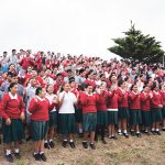 Students and staff perform school haka.