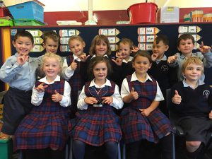 Award-winning sign language communicators from Room 4 at St Theresa's School, Plimmerton.