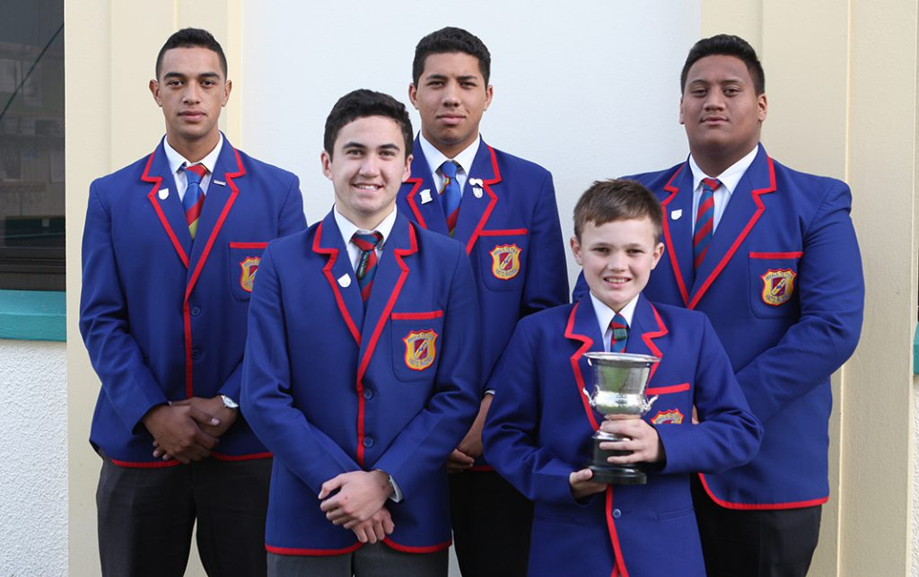 Hāto Pāora College's team won the Society of Mary's Cup for Drama (l-r): Dion Hunt, Matuakore Hook, Jed Te Aho,