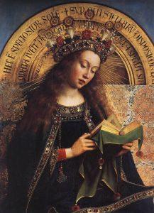 The Ghent Altarpiece – Virgin Mary (detail) by Jan van Eyck.