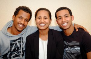 From l-r: Yohannes and Tesfit with Tefit's sister Fanus . 'The house at Mt Vic helped us in so many ways. We were in need of a house urgently and we felt like we were running out of options. But when you came and gave us some ideas we were on track to finding a home. We felt really honoured to stay at the house, being close to the city and work, and having the space we wanted and needed at a cheap cost. We're really thankful and hope other refugees receive the same support. Thank you so much.'  Photo: Philip Dyer