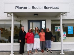Pleroma Social Services team (l-r) Jane Baker (counsellor), Donna Pirini (social worker), Rachel Mackay (manager), Liz Bayliss (counsellor), Catherine Pedersen (administrator)
