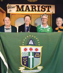 Palmerston North Marist Old Boys (from left) Peter Richards, Paul O'Brien, Mike Keenan and Ted Dawick, at the entrance of the Marist Sports Club building for the inaugural Palmerston North meeting of The Marist Brothers Champagnat Trust, 14 April this year.