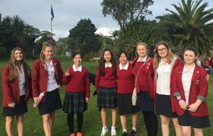 Sacred Heart College student Jane Gray (second from right) and colleagues joined the peace walk to Parihaka.