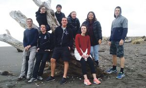 Palmerston North and Wellington pilgrims on their way to World Youth Day from the Kapiti Coast. Back (l-r): Eilis Byrne, Ciaran Byrne, Alivia Bowe, Joanna Viernes, Finbarr Reynolds. Front (l-r): David Hobbs, Oliver Sanderson, Thomas Dravitzki , Monique Barrow.  Photo: Finbarr Reynolds