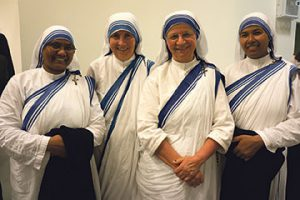 Missionaries of Charity Sisters (l-r) Srs Therese, Hannah, Stephanius and Amalia, invite you to celebrate with them a thanksgiving Mass for the Canonisation of Blessed Teresa of Calcutta, at Sacred Heart Cathedral, Wellington, 9am, Saturday 10 September.  Photo: Annette Scullion