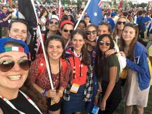 Monique Barrow, second from left, with some of her group at WYD.