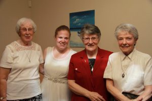 Karen Lea Englebretsen, in formation with the Passionist Sisters in Melbourne is pictured (second from left) with Srs Joan Smith, Brigid Murphy, and Anne Cunningham.