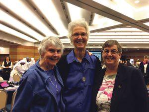 New Zealand women religious leaders in Rome: (l-r) Srs Judith McGinley OM, Margaret Anne Mills DOLC, Josephine Kane RNDM.