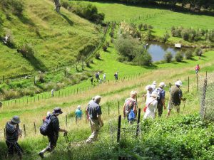 Locals walk wetland at Mt St Joseph, Whanganui.