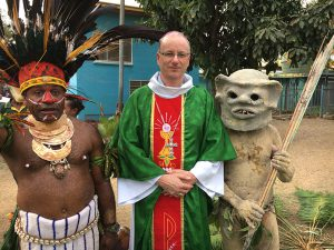 Bishop Charles welcomed by parishioners of Morata, Port Moresby.