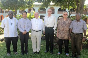 Pictured at the Papua New Guinea for the Annual Executive Committee Meeting of FCBCO are, from left: Bishop John Bosco Baremes SM (Vanuatu); Bishop Vincent Long OFM Conv (Australia); Bishop Robert McGuckin (Australia); Bishop Charles Drennan (Palmerston North); Archbishop Michel Calvet SM (Noumea); Archbishop John Ribat MSC (Port Moresby, Papua New Guinea).