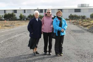Paraparaumu's Presentation Sisters Regina Daly, Fran Nicolle and Breda Ryan on the new road, 'Presentation Way', at site open day in June.