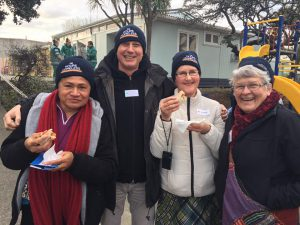 Sr Lusi Raratini, Steve Logan, Virginia Ashcroft and Sr Catherine Hannan at '14 Hours Homeless' in Wellington. Photo: Supplied