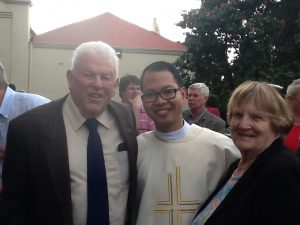 Deacon Cirilo Barlis with members of his St Benedict's Church community 'family', Diane and Eugene Crosby. Photo: Eugene Crosby