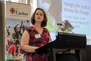 Caritas Aotearoa NZ Director Julianne Hickey launches new report. Photo: Crispin Anderlini