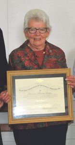 Maureen Fenton services to Hunterville RSA recognised with prestigious merit award.