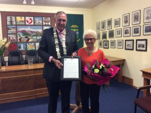 Central Hawke's Bay Mayor, Peter Butler, awards Shirley Duthie the CHB District Civic Award for 2016.