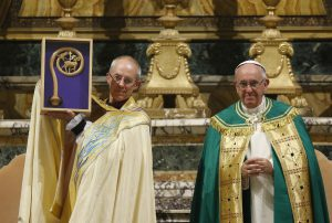 Anglican Archbishop Justin Welby of Canterbury, England, spiritual leader of the Anglican Communion, holds a replica of the staff of St Gregory the Great given by Pope Francis at a vespers service at the Church of St Gregory in Rome, 5 October. Photo: CNS/Paul Haring.
