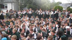 St Patrick's School students celebrate becoming a Green-Gold Enviroschool.