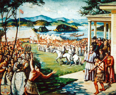 Bishop Pompallier at the signing of the Treaty of Waitangi, 6 February 1840.