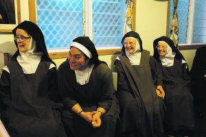 Carmelite sisters enjoying catch up with whānau.