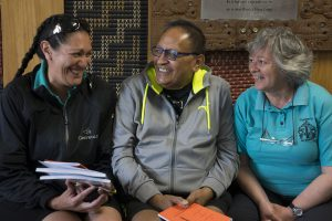 Melissa Paul, Richard Puanaki and Lilian Adsett teach chants for Miha Māori.