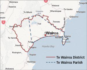 Indicative borders of Wairoa District and Parish.