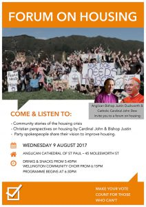 Churches to host housing  pre-election forum on 9 August 2017 Archdiocese of Wellington