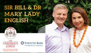 Sir Bill and Lady Mary English speakers for inaugural Cardinal's luncheon Archdiocese of Wellington