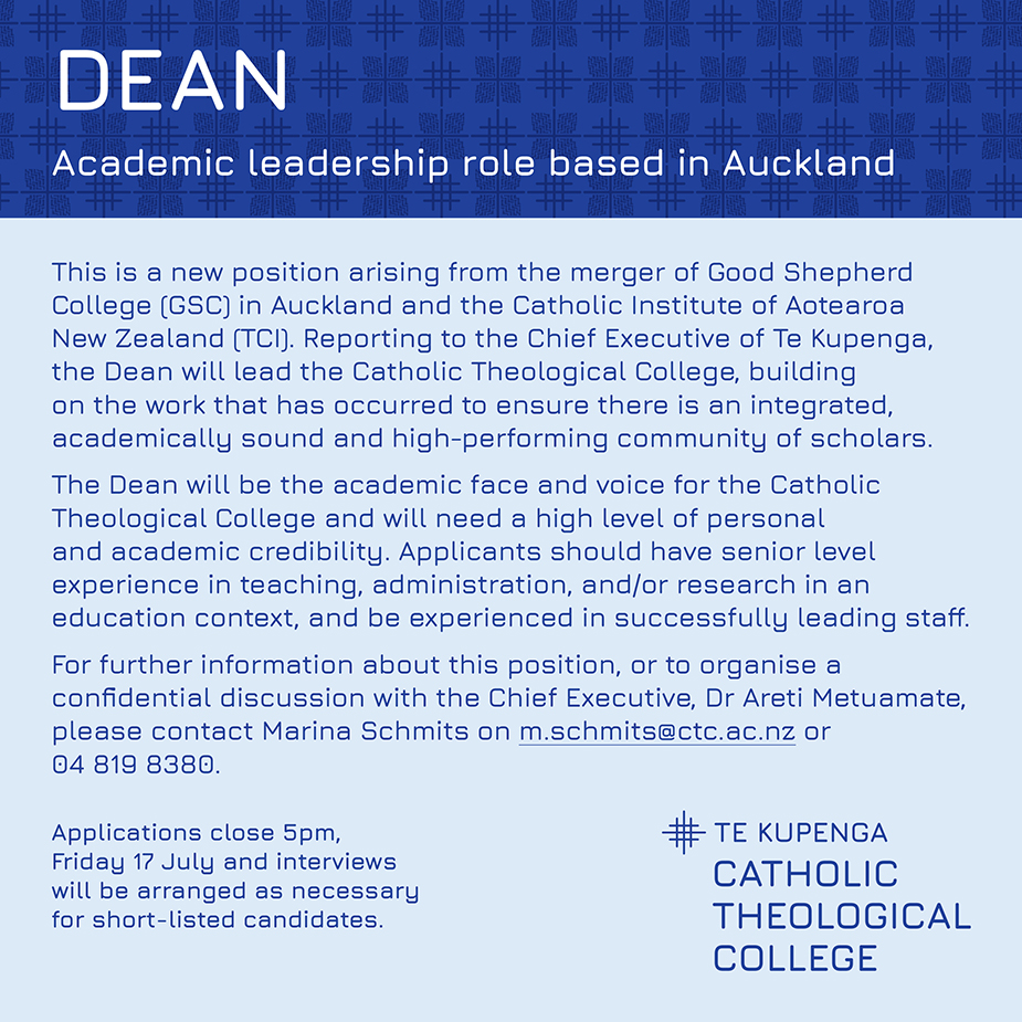 Dean sought for newly formed Te Kupenga Catholic Theological College Archdiocese of Wellington